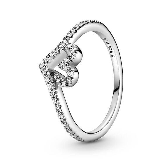 Pandora Sparkling Wishbone Heart CZ Ring