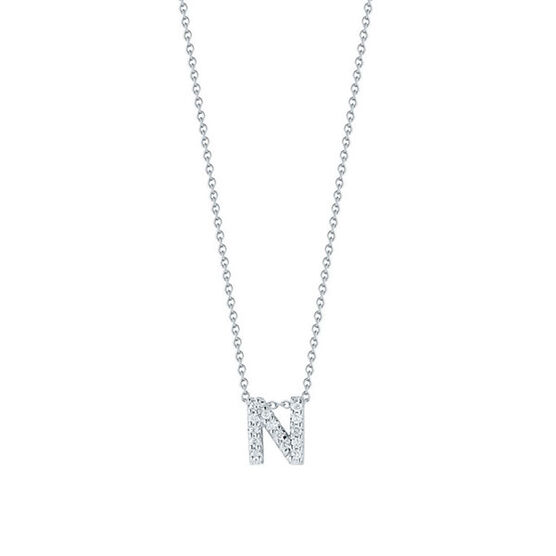 Roberto Coin Tiny Treasures Diamond Initial Pendant 18K Letter 'N'