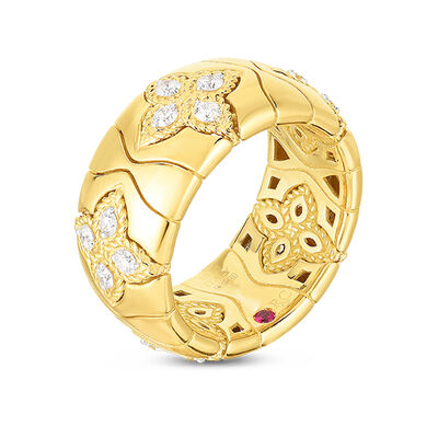Roberto Coin Royal Princess Flower Diamond Ring 18K
