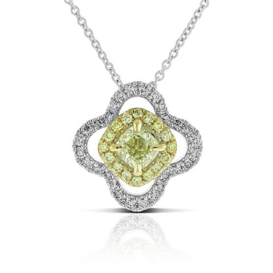 Yellow & White Diamond Halo Flower Pendant 14K