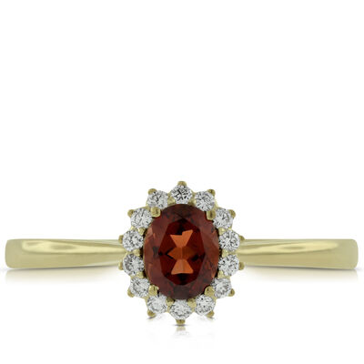 Garnet & Diamond Ring 14K