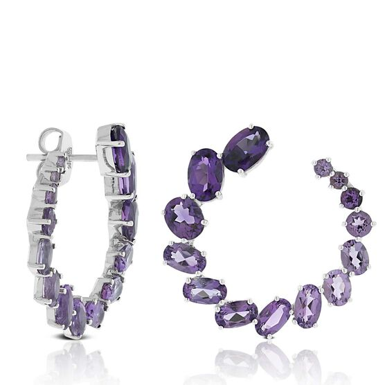 Amethyst Curl Earrings 14K