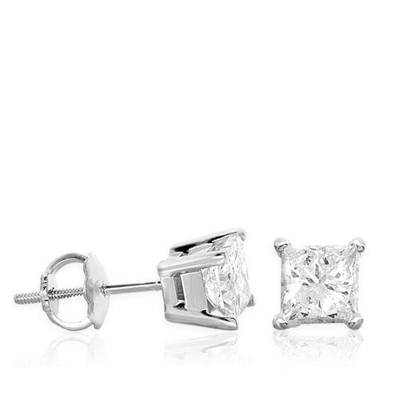 Princess Cut Diamond Earrings 14K, 1 ctw.