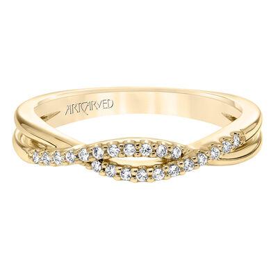 ArtCarved Diamond Split Design Wedding Band 14K