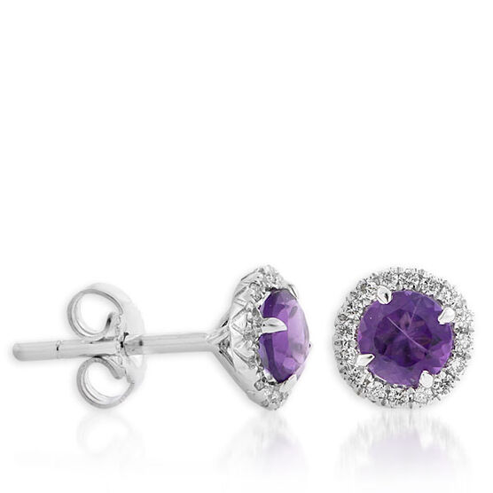 Amethyst & Diamond Earrings 14K