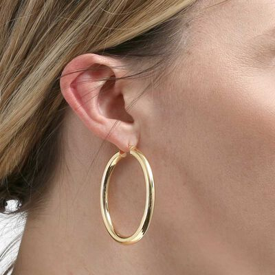 Toscano Oval Hoop Earrings 14K