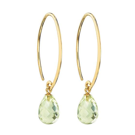 Green Quartz Earrings 14K