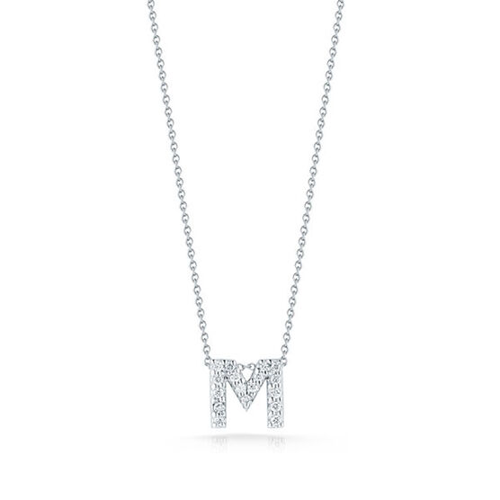 Roberto Coin Tiny Treasures Diamond Initial Pendant 18K Letter 'M'