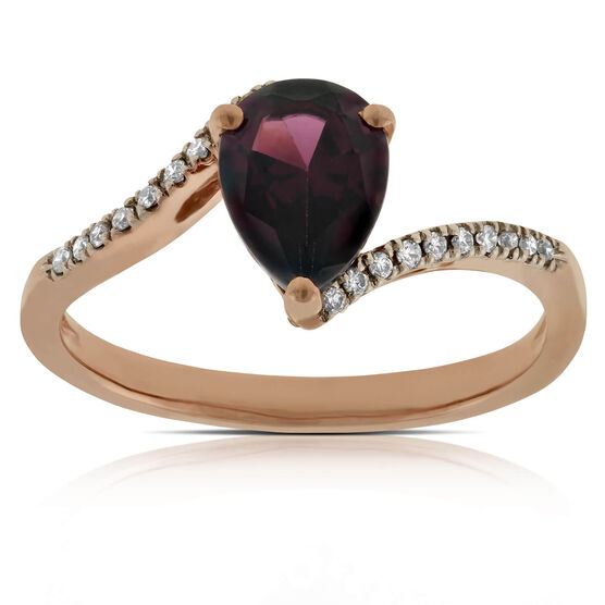 Rose Gold Garnet & Diamond Ring 14K