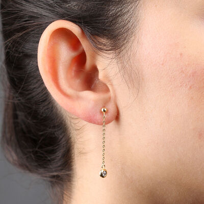 Two-Tone Drop Disc Earrings 14K