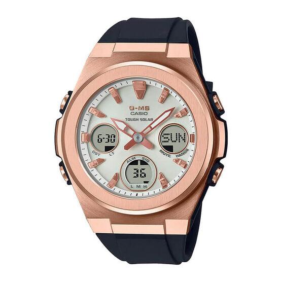 G-Shock Black Resin Rose IP Solar Watch, 43.9mm