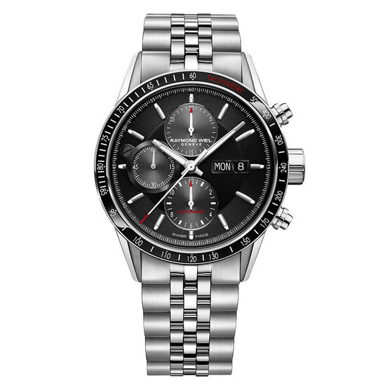 Raymond Weil Freelancer Men's Automatic Chronograph Black Dial Watch, 42mm