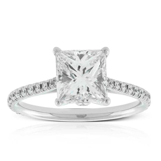 Princess Cut Solitaire Ring 18K, 2.14 ct. Center