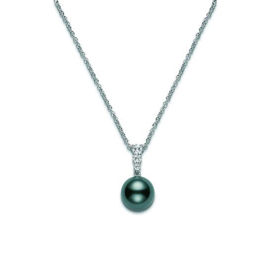 Mikimoto Cultured Black South Sea Pearl & Diamond Necklace 18K, 10mm