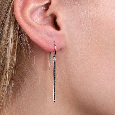 Black & White Diamond Bar Drop Earrings 14K