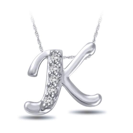 "Diamond ""K"" Initial Pendant 14K"