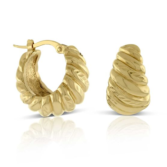 Graduated Twist Small Hoop Earrings 14K