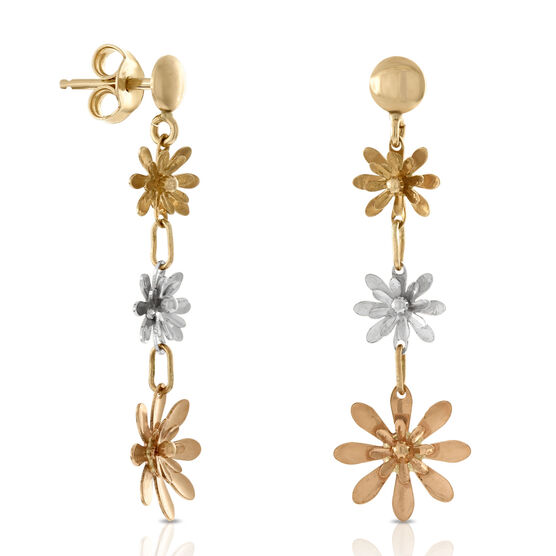 Tri-Color Floral Dangle Earrings 14K