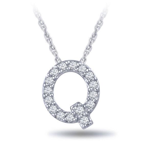 Diamond Initial Pendant 14K Letter 'Q'