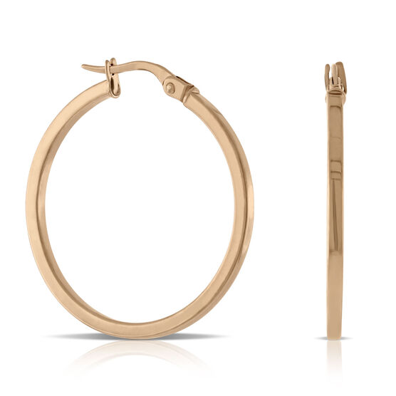 Rose Gold Square Tube Hoop Earrings 14K