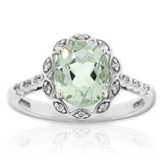 Green Quartz & Diamond Ring 14K