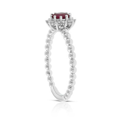 Oval Ruby & Diamond Halo Ring 14K
