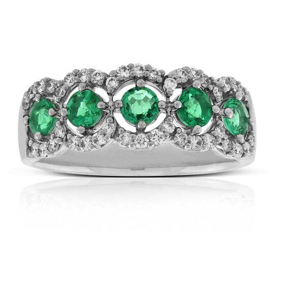 5-Stone Emerald & Diamond Ring 14K