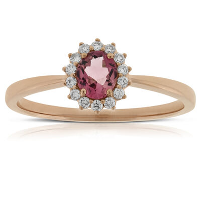Rose Gold Tourmaline Diamond Halo Ring