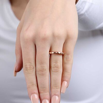 Rose Gold Toscano Roman Hammered Ring 14K