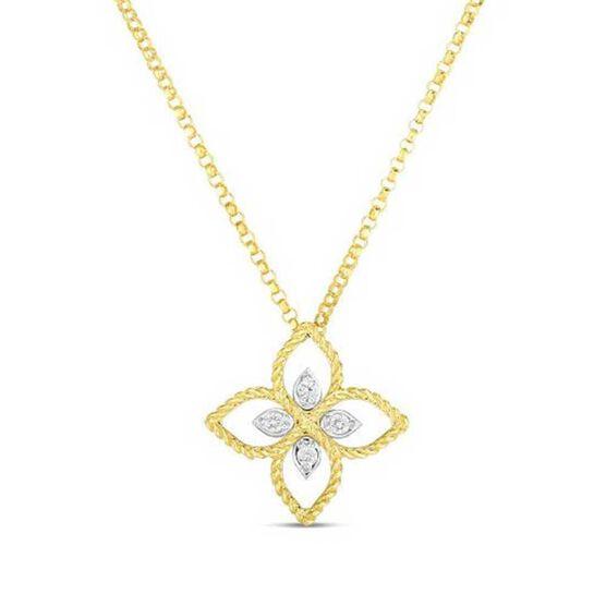 Roberto Coin Principessa Small Diamond Flower Necklace 18K