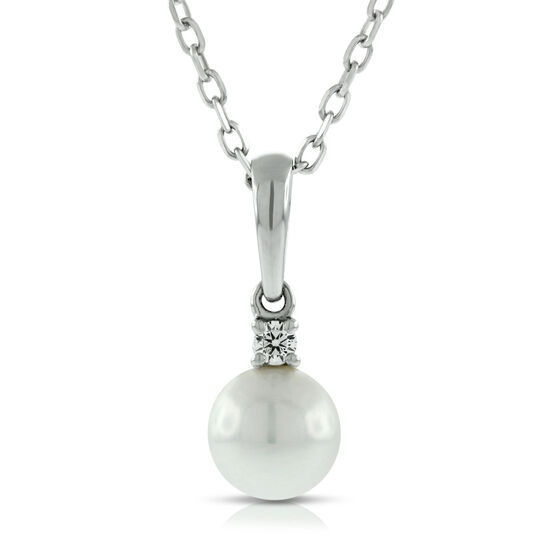 Mikimoto Akoya Cultured Pearl & Diamond Pendant,6mm,  AA, 18K