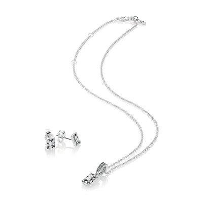 PANDORA Luminous Ice Necklace Earrings Gift Set