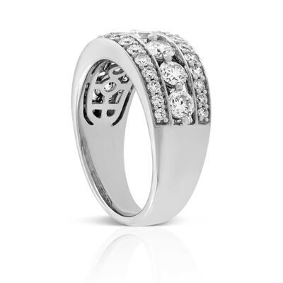 Shared Prong Three Row Diamond Band 14K