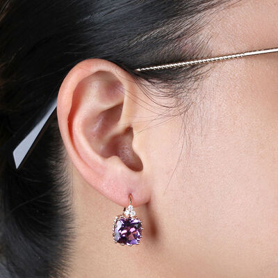 Rose Gold Cushion Amethyst & Diamond Earrings 14K