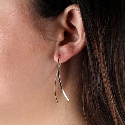 Rose Gold Crossover Threader Earrings 14K