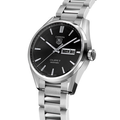 TAG Heuer Carrera Calibre 5 Day Date Automatic Mens Black Steel Watch