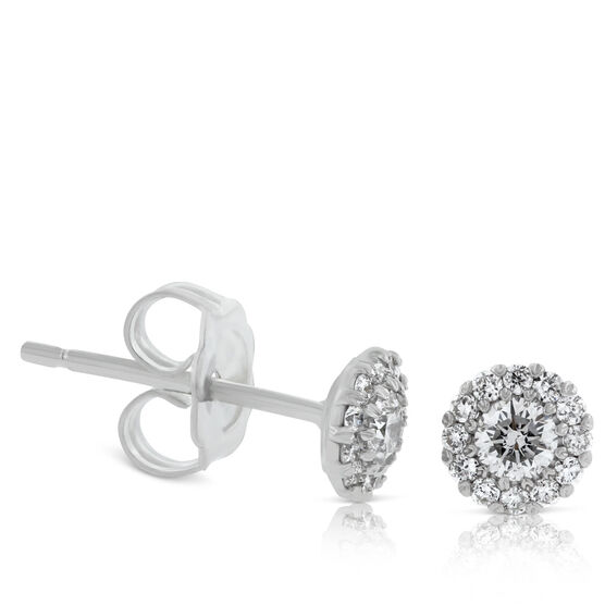 Diamond Halo Cupcake Earrings 1/3ctw, 14K