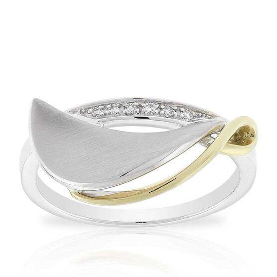 Two-Tone Diamond Leaf Ring 14K