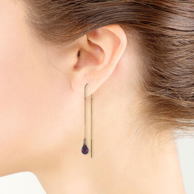 Rose Gold Garnet & Diamond Threader Earrings 14K