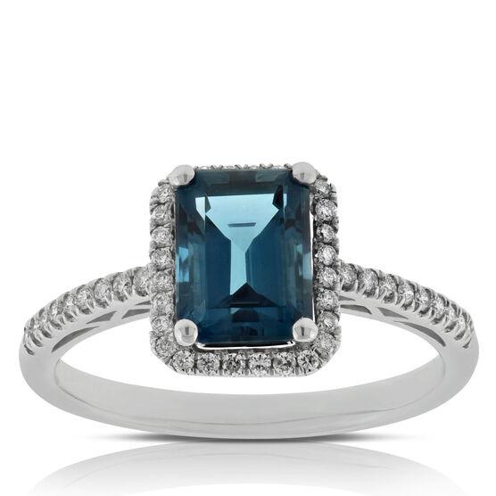 London Blue Topaz & Diamond Ring 14K