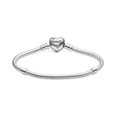 Pandora Moments Family Tree Heart Clasp Snake Chain CZ Bracelet