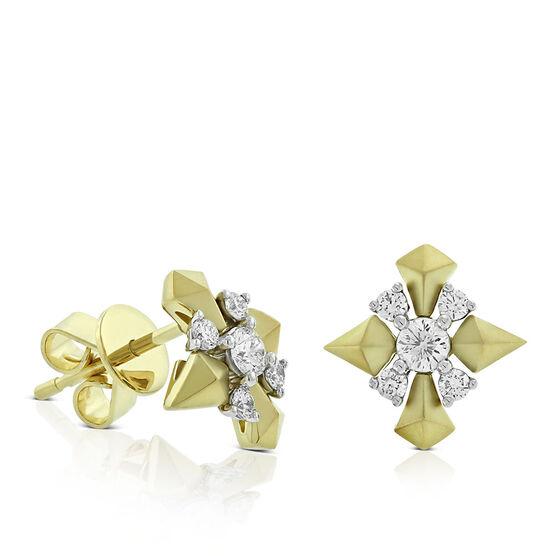 Jade Trau for Signature Forevermark Diamond Cluster Sheild Earrings 18K