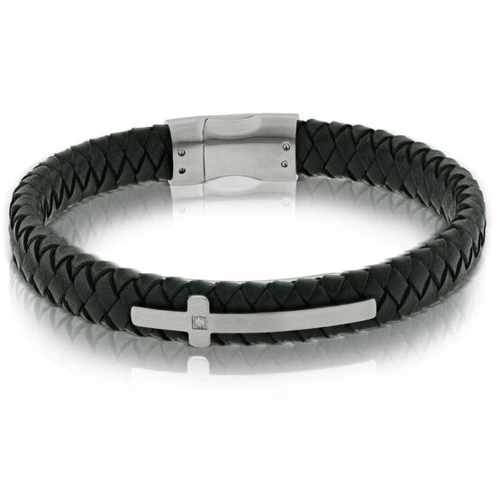 Black Leather Cross with Diamond Bracelet