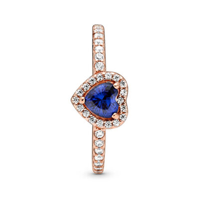 Pandora Rose™ Sparkling Blue Elevated Heart Crystal & CZ Ring