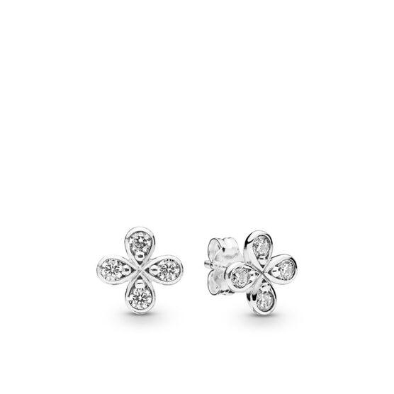 Pandora Four-Petal Flower Stud CZ Earrings