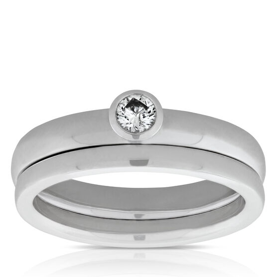 Bezel Set Diamond Wedding Set 14K