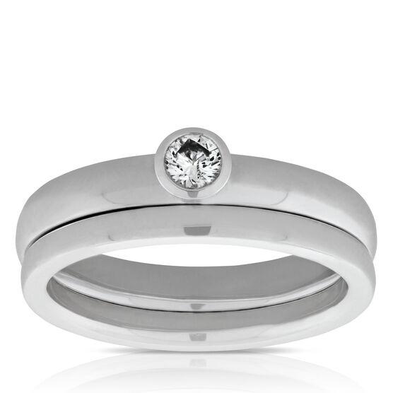Bezel Set Diamond Bridal Set 14K