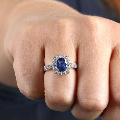 Sapphire & Diamond Halo Ring 14K