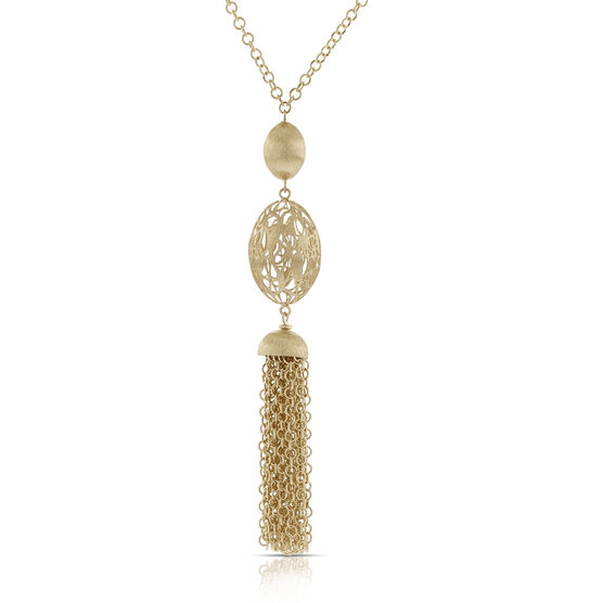 Toscano Openwork Bead and Tassle Necklace 14K