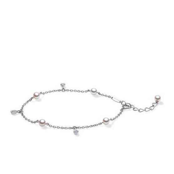 Mikimoto Akoya Cultured Pearl & Diamond Teardrop Bracelet 18K